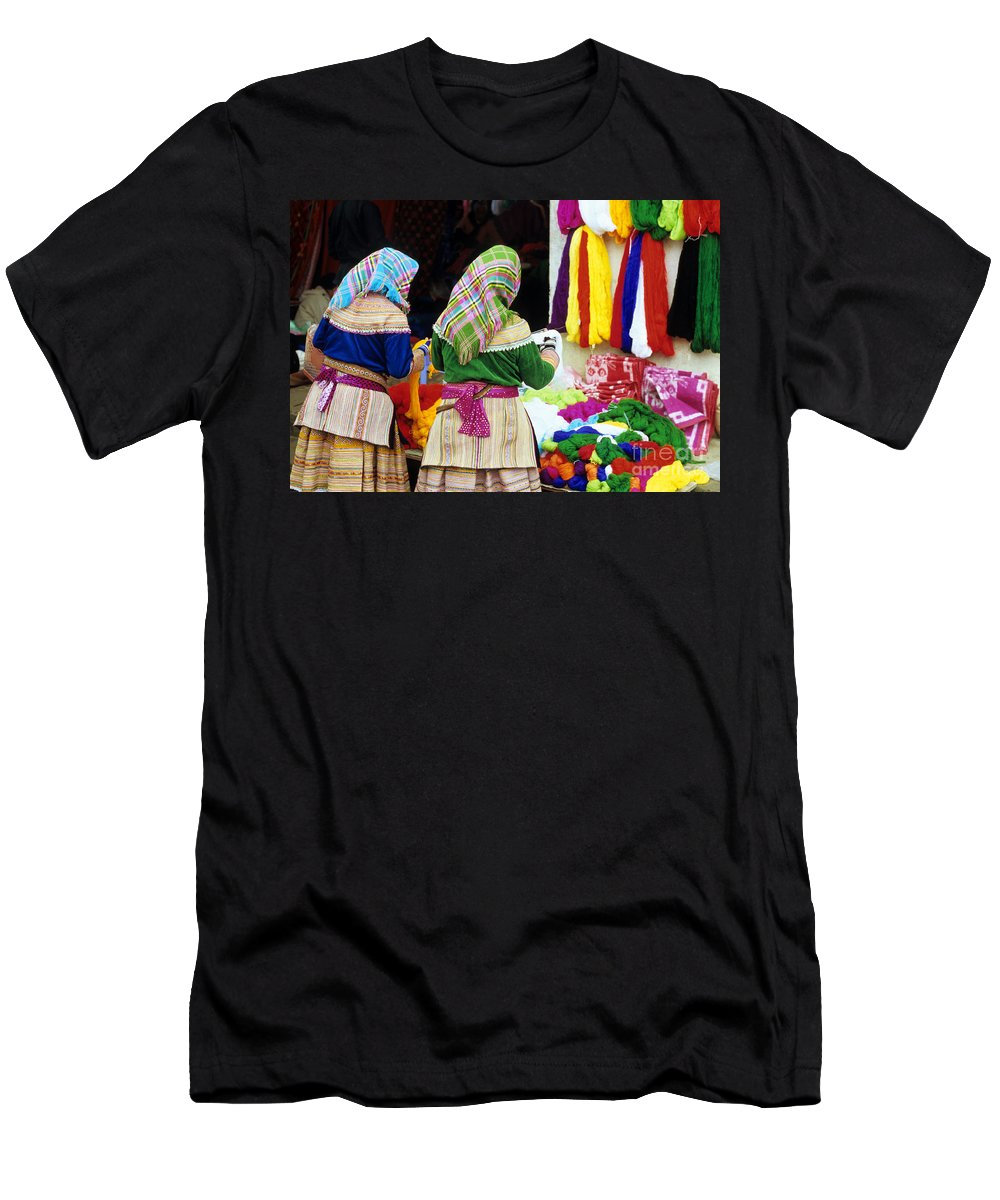 Vietnam Men's T-Shirt (Athletic Fit) featuring the photograph Flower Hmong Wool Stall by Rick Piper Photography