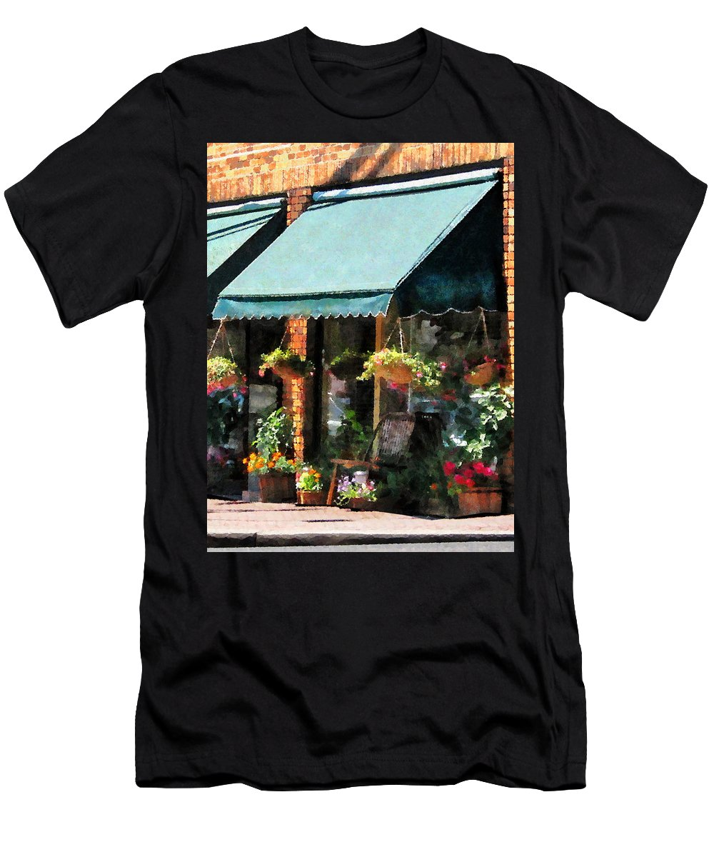 Flower Men's T-Shirt (Athletic Fit) featuring the photograph Flower Shop With Green Awnings by Susan Savad