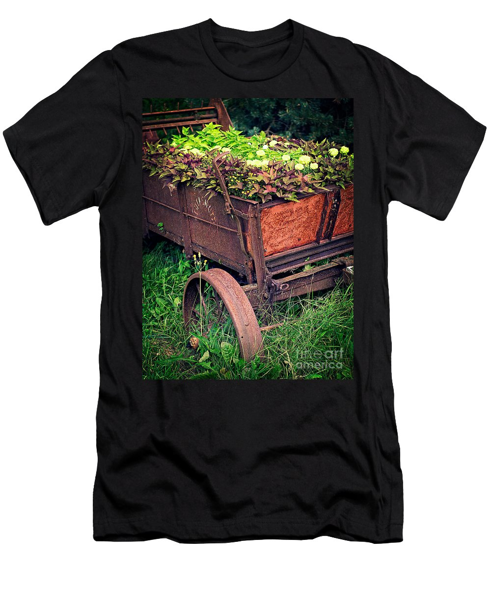 Flowers Men's T-Shirt (Athletic Fit) featuring the photograph Flower Wagon by Edward Fielding