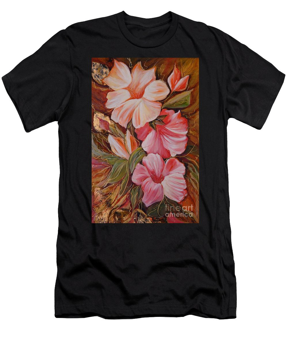 Abstract Men's T-Shirt (Athletic Fit) featuring the painting Flowers II by Silvana Abel