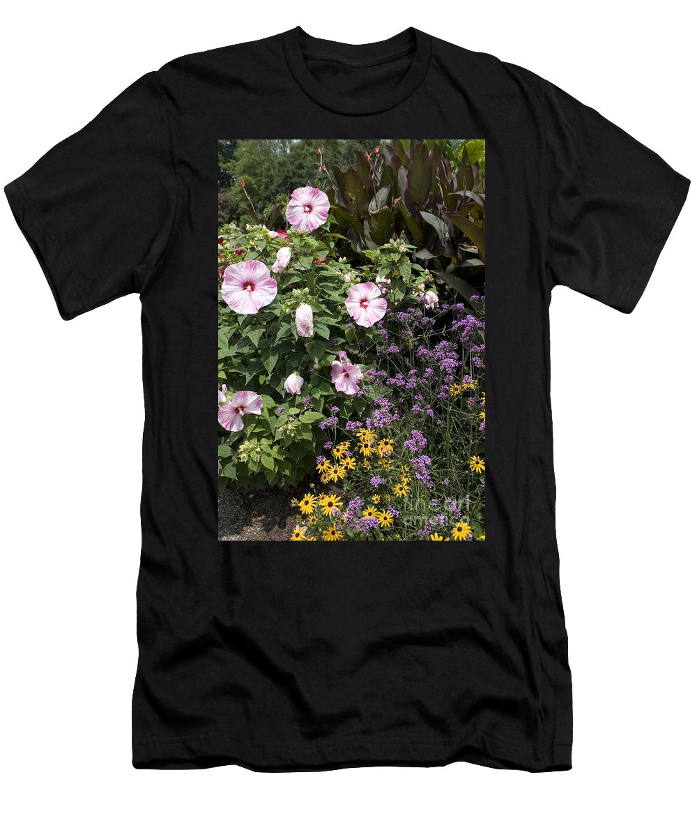 Garden Men's T-Shirt (Athletic Fit) featuring the photograph Flowers In A Garden by Jason O Watson