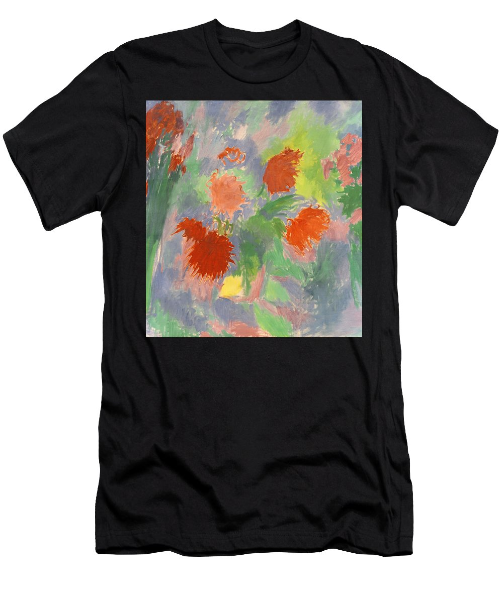 Roses Men's T-Shirt (Athletic Fit) featuring the painting Flowers by Robert Nizamov