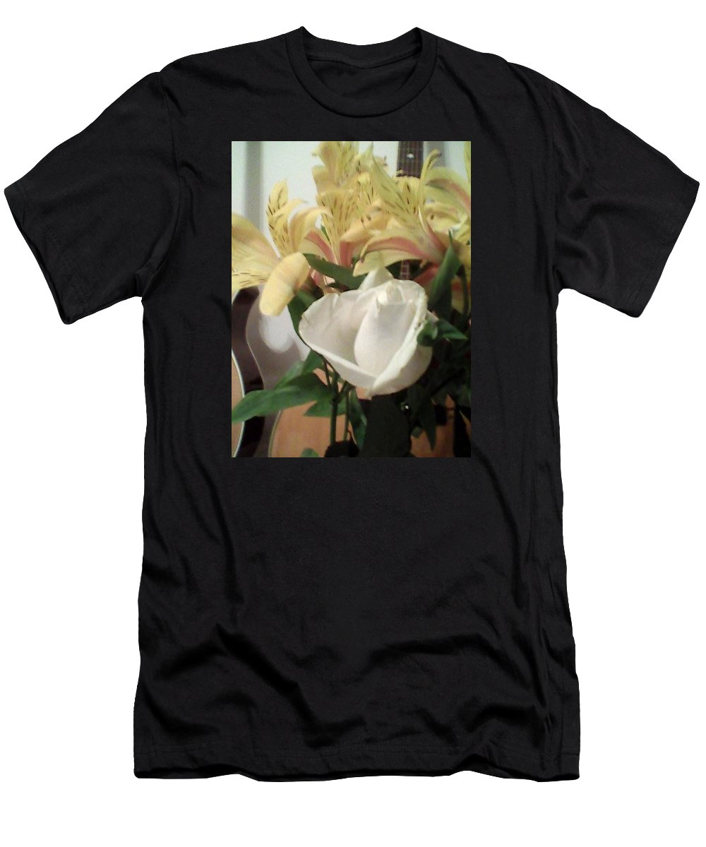 White Rose Men's T-Shirt (Athletic Fit) featuring the photograph Flowery Notes by Suzanne Berthier