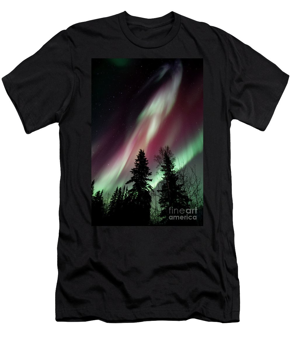 Northern Light Men's T-Shirt (Athletic Fit) featuring the photograph Flowing Colours by Priska Wettstein