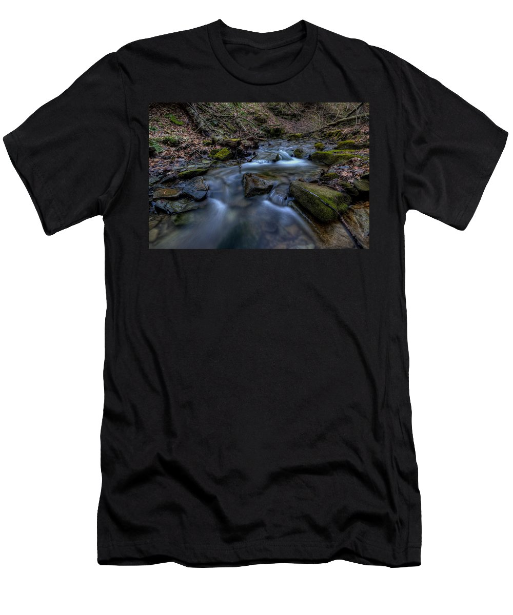 Brook Men's T-Shirt (Athletic Fit) featuring the photograph Flowing Waters by David Dufresne