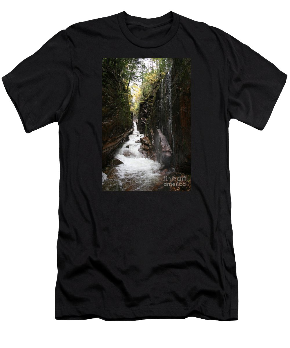 Franconia Notch Men's T-Shirt (Athletic Fit) featuring the photograph Flume Gorge Franconia Notch by Christiane Schulze Art And Photography