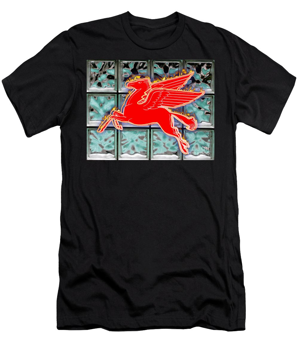 Red Men's T-Shirt (Athletic Fit) featuring the digital art Flying Fire Horse by Keith Dillon