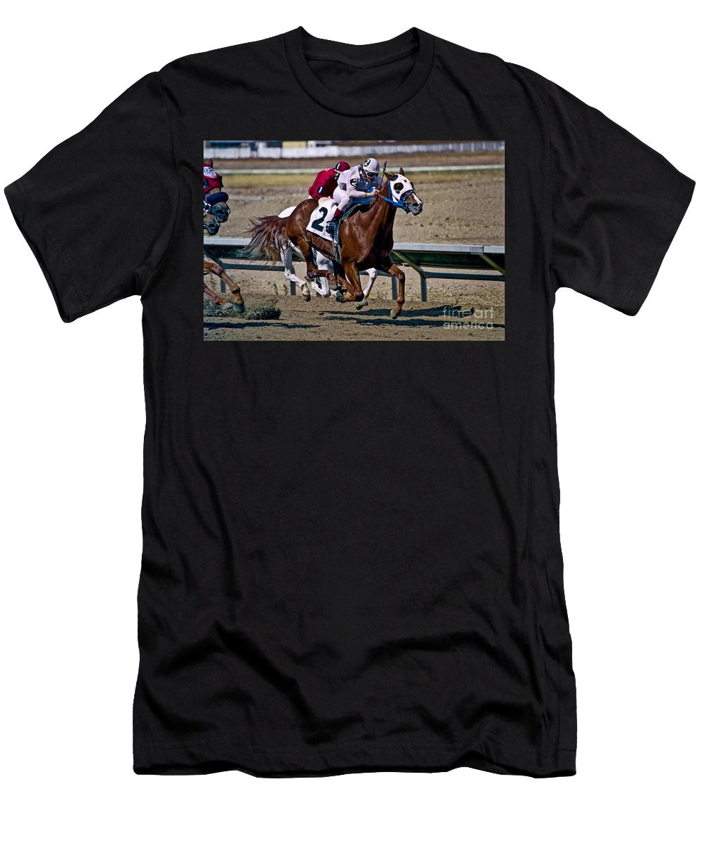 Racing Men's T-Shirt (Athletic Fit) featuring the photograph Flying Hooves by Kathy McClure