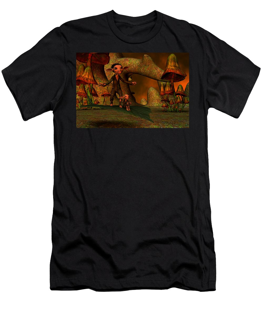 Flying Men's T-Shirt (Athletic Fit) featuring the digital art Flying Through A Wonderland by Gabiw Art