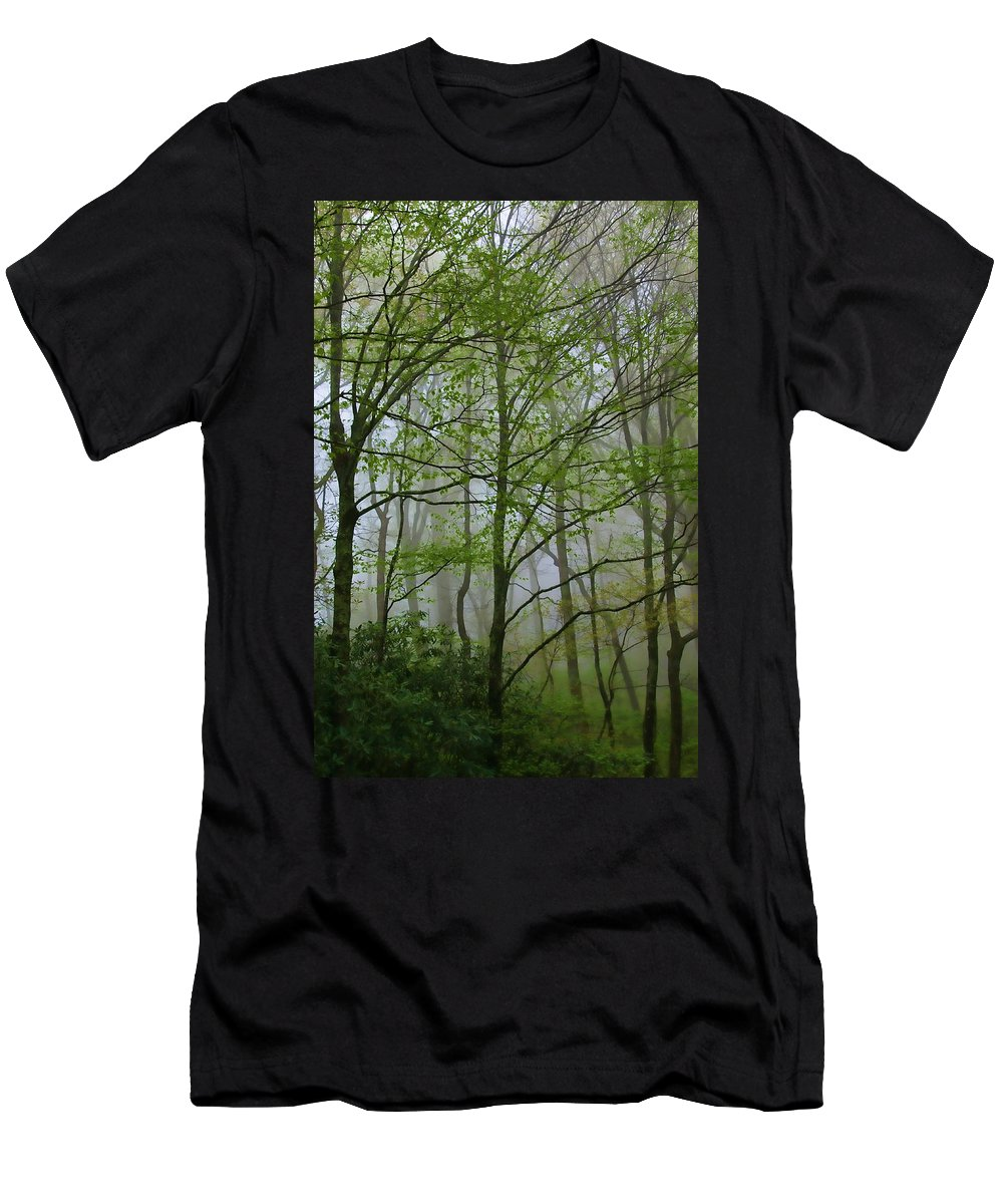Don Keisling Men's T-Shirt (Athletic Fit) featuring the photograph Foggy Woods by Don Keisling