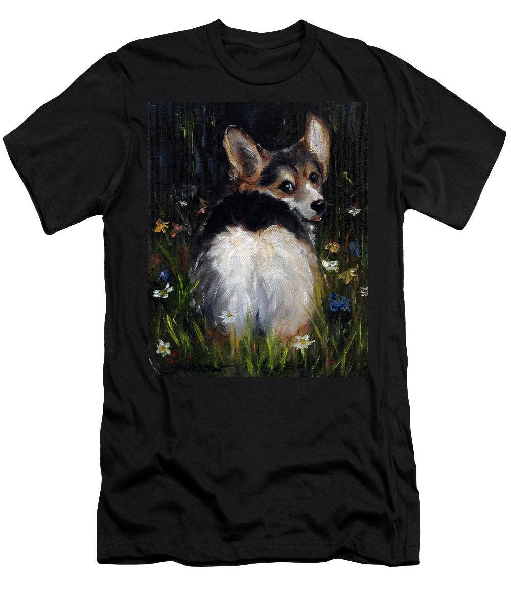 Cardigan Welsh Corgi T-Shirt featuring the painting Follow Me by Mary Sparrow