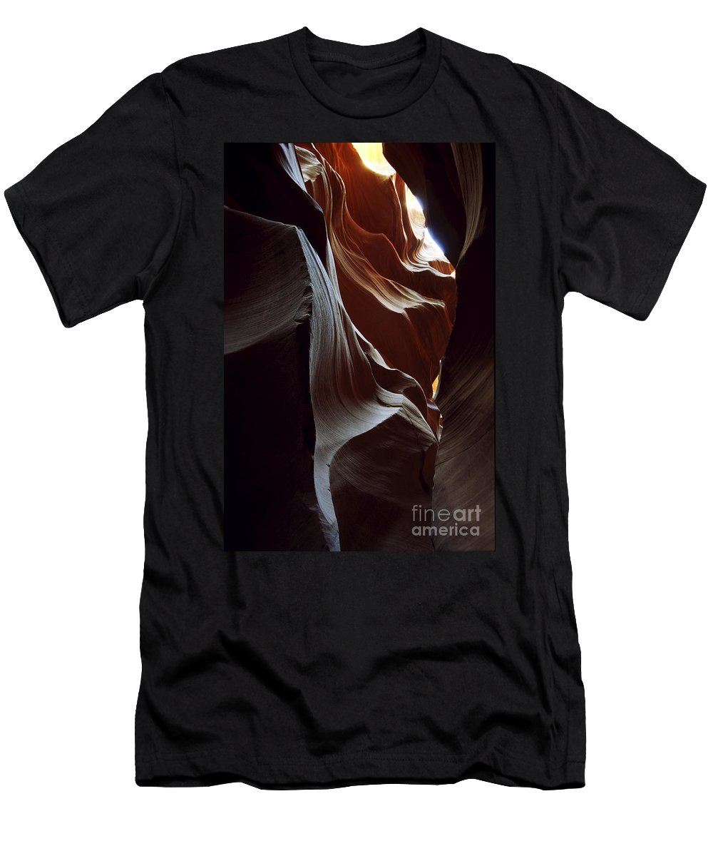 Antelope Canyon Men's T-Shirt (Athletic Fit) featuring the photograph Follow The Light by Kathy McClure