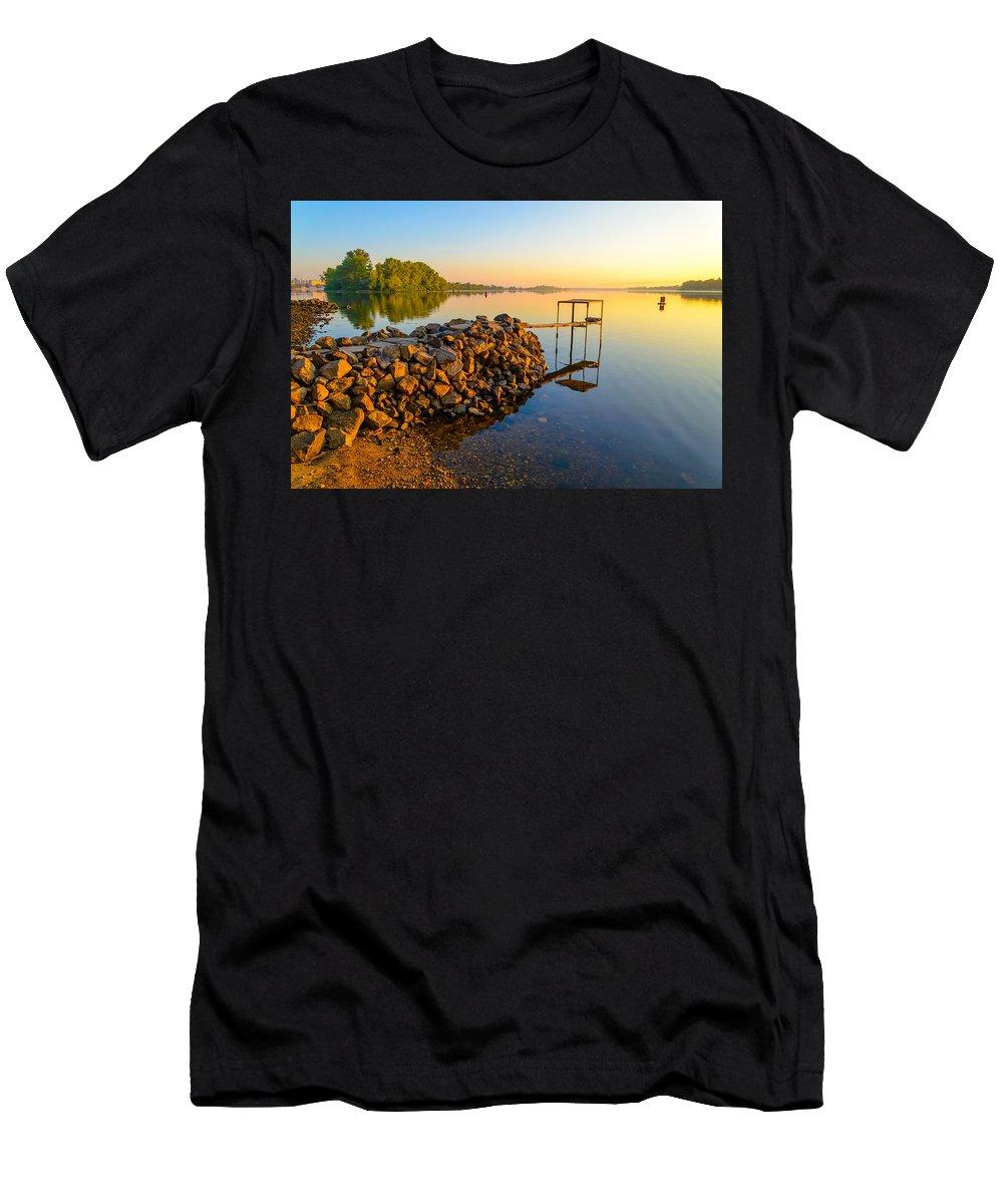 Dnieper Men's T-Shirt (Athletic Fit) featuring the photograph Footbridge On The River by Alain De Maximy