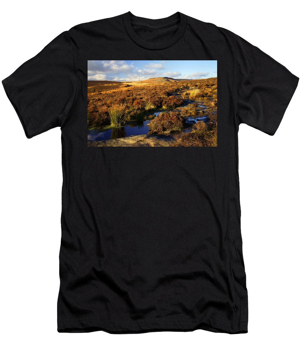 Landscape Men's T-Shirt (Athletic Fit) featuring the photograph Footpath To Burbage Rocks by Darren Galpin