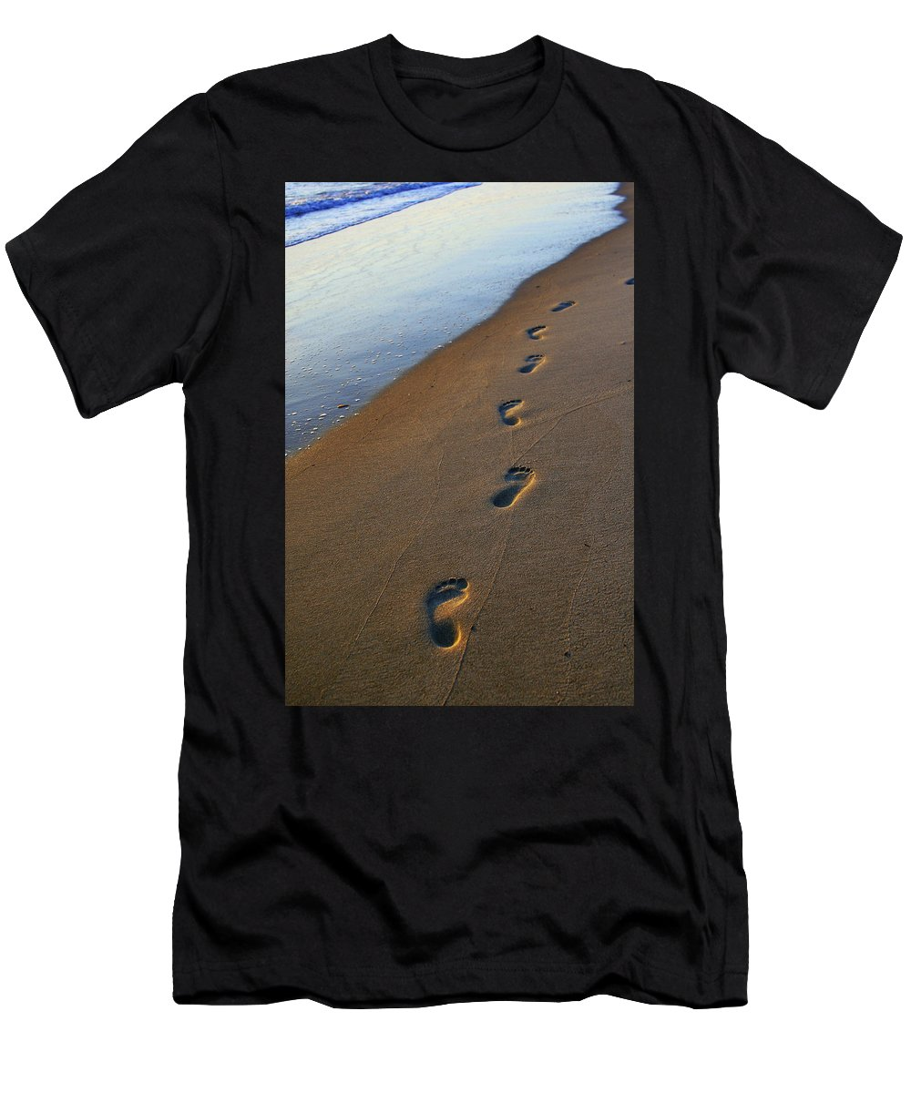 Beach Men's T-Shirt (Athletic Fit) featuring the photograph Footprints In The Sand by Amy Jackson