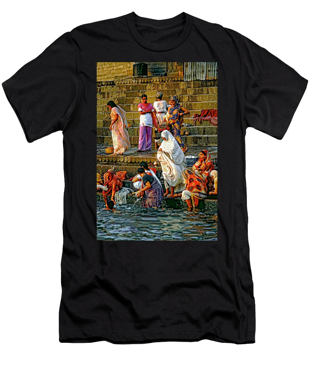 Varanasi Men's T-Shirt (Athletic Fit) featuring the photograph For Women Only by Steve Harrington