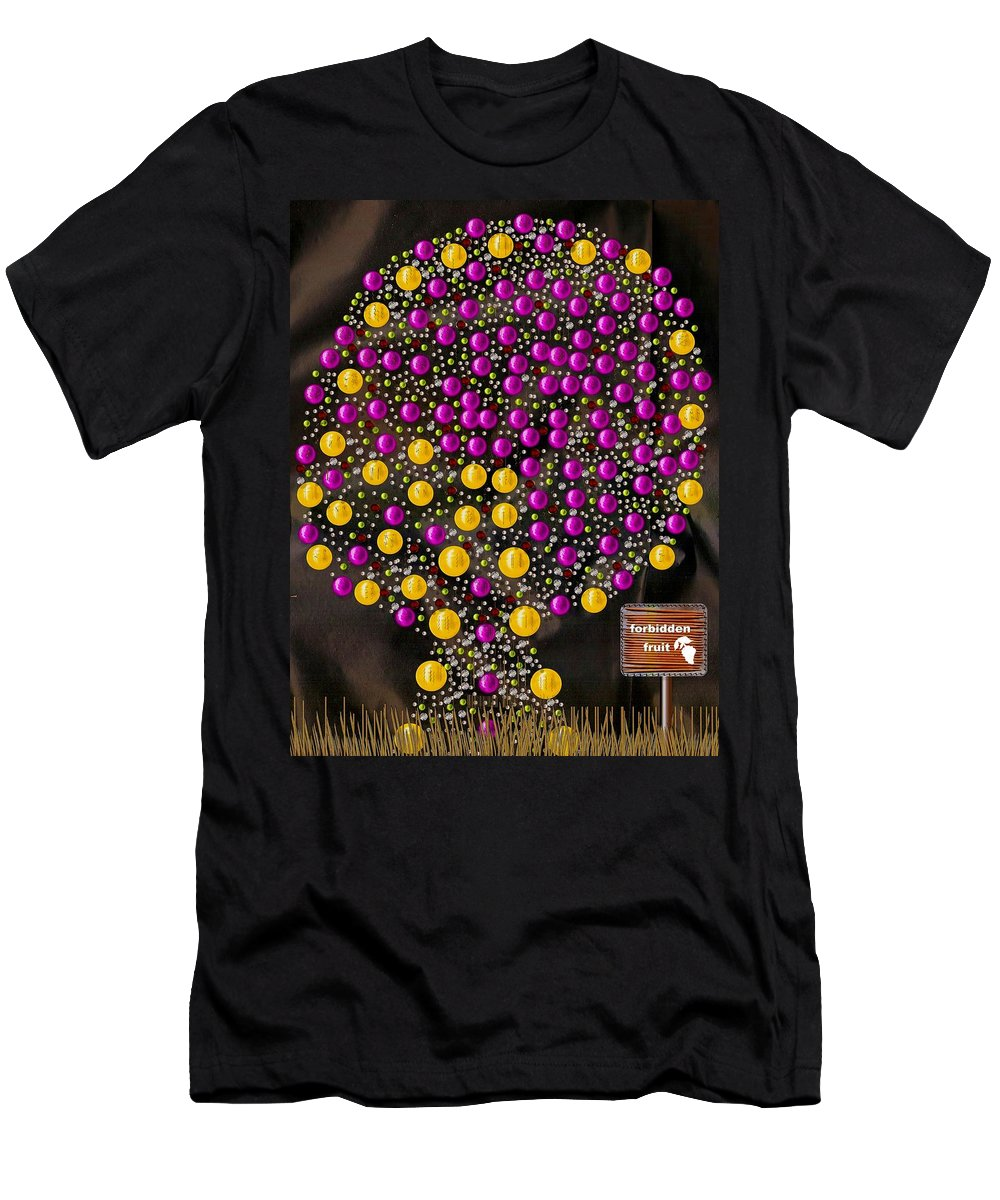 Tree Men's T-Shirt (Athletic Fit) featuring the mixed media Forbidden Fruit Pop Art by Pepita Selles