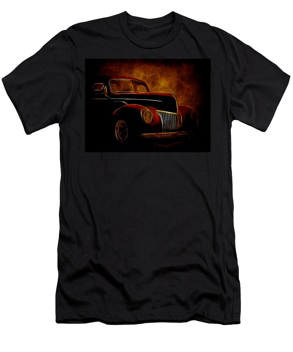 40 Ford Coupe Men's T-Shirt (Athletic Fit) featuring the photograph Ford Glow by Steve McKinzie