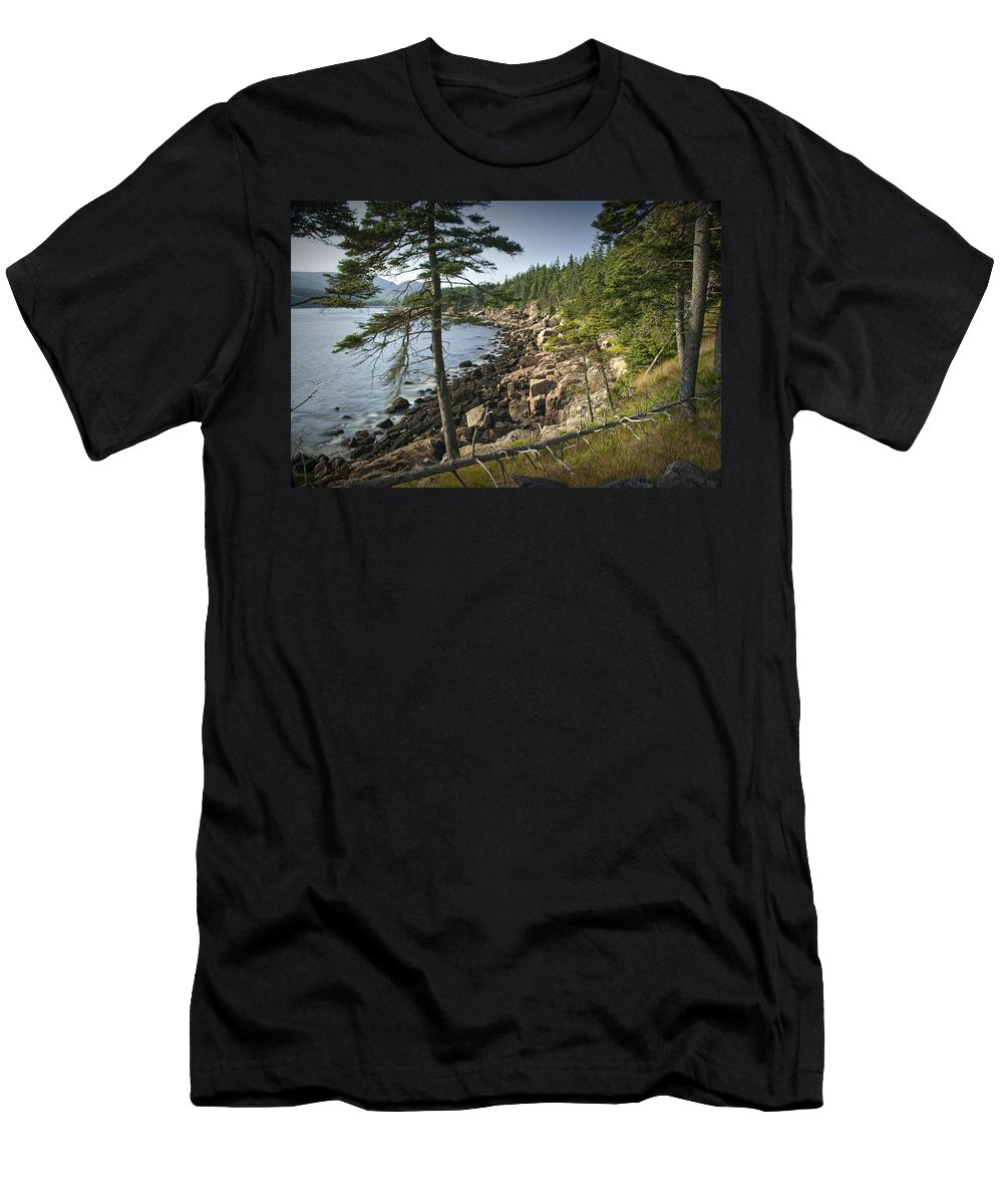 Art Men's T-Shirt (Athletic Fit) featuring the photograph Forest And Rocky Shore In Acadia National Park by Randall Nyhof