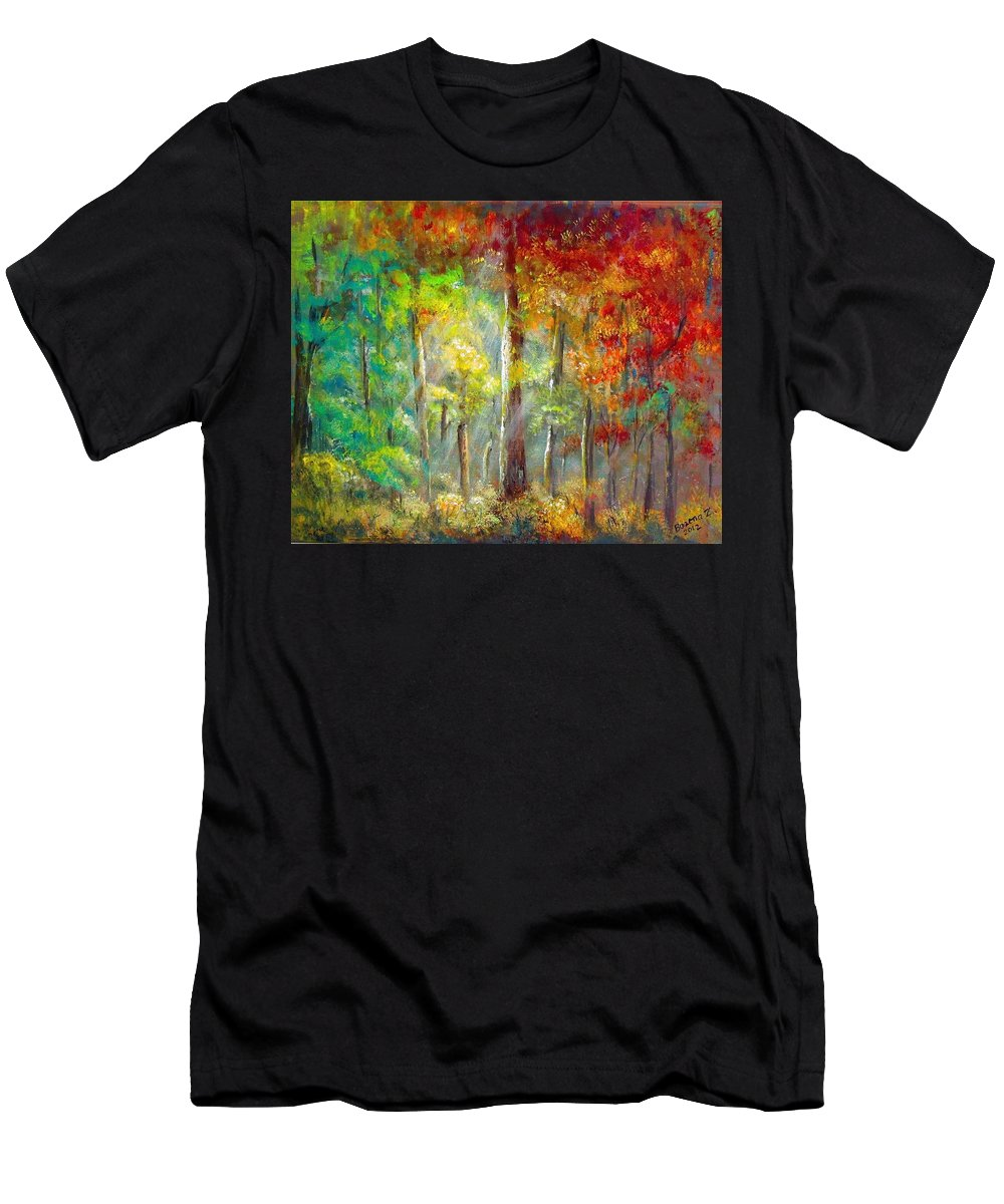 Forest Men's T-Shirt (Athletic Fit) featuring the painting Forest by Bozena Zajaczkowska