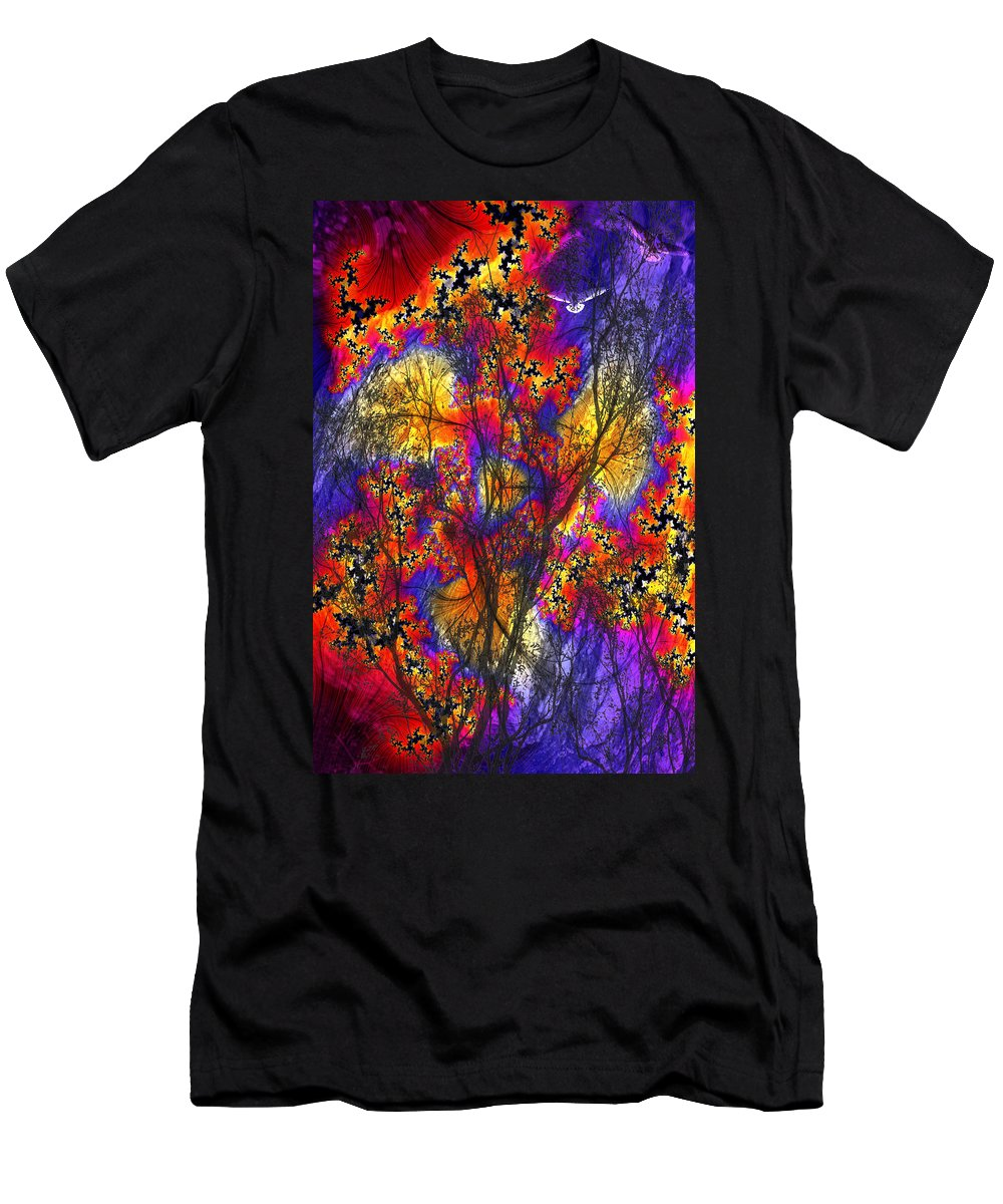 Forest Fire Men's T-Shirt (Athletic Fit) featuring the digital art Forest Fire by Lisa Yount