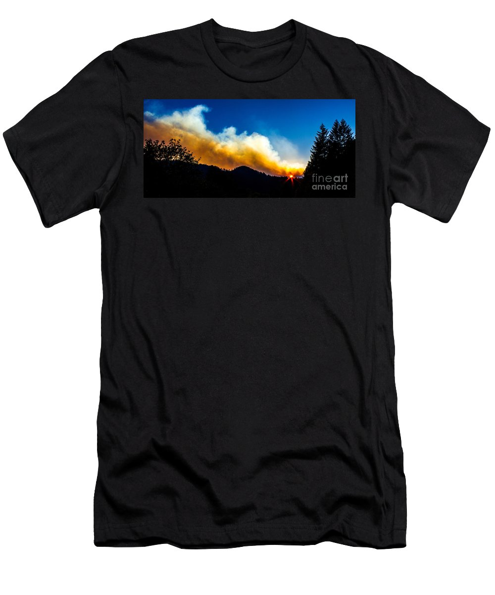Forest Fire Men's T-Shirt (Athletic Fit) featuring the photograph Forest Fire Sunset by Michael Cross