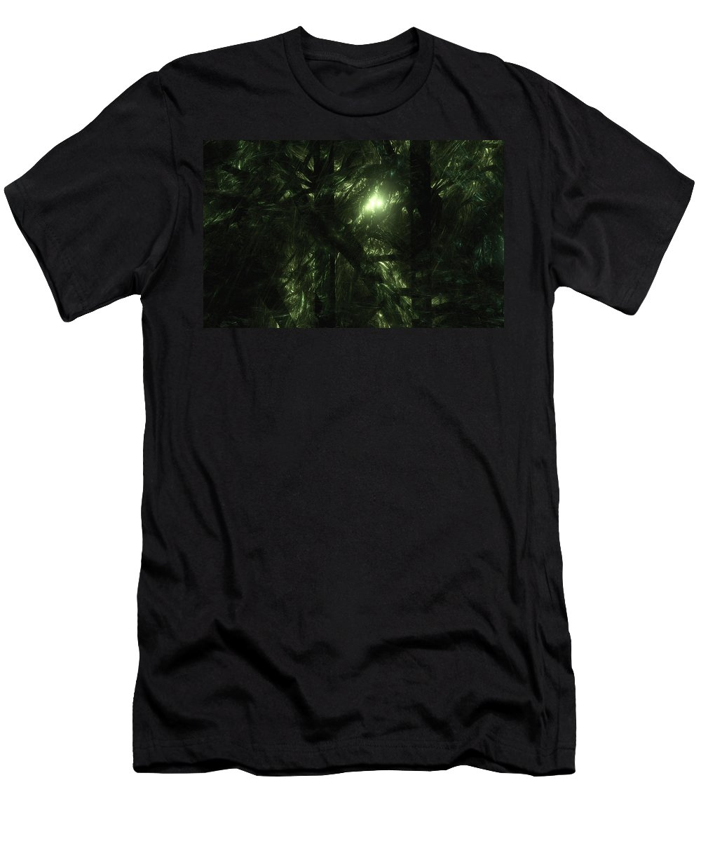 Fractal. Forest Men's T-Shirt (Athletic Fit) featuring the digital art Forest Light by GJ Blackman
