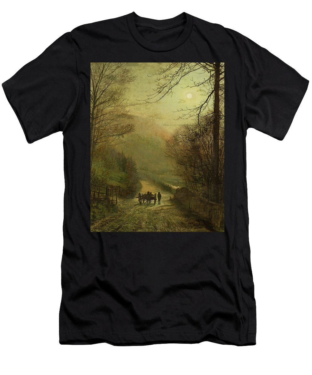 Grimshaw Men's T-Shirt (Athletic Fit) featuring the painting Forge Valley, Scarborough by John Atkinson Grimshaw