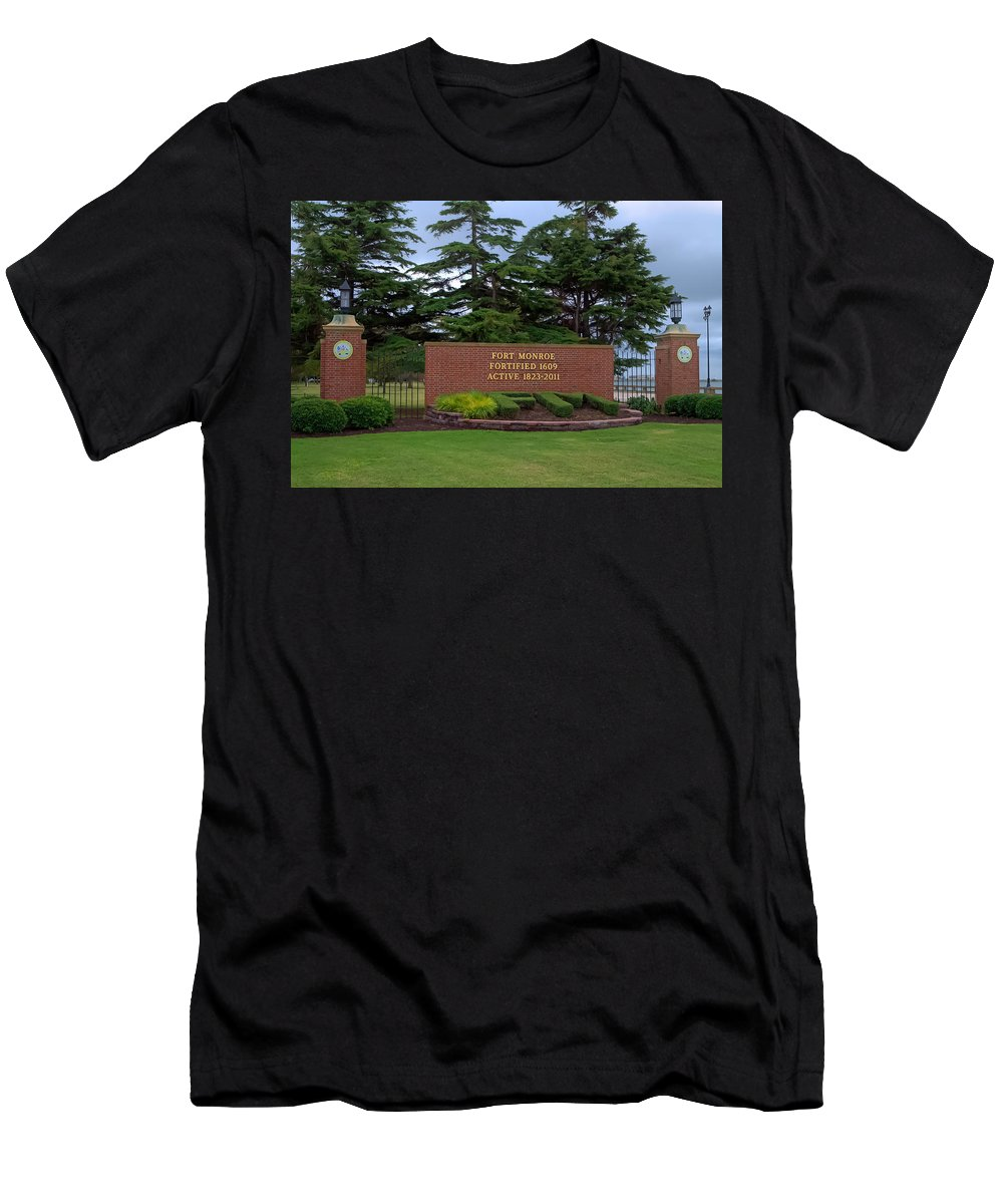 Fort Monroe Men's T-Shirt (Athletic Fit) featuring the photograph Fort Monroe Main Gate by Jerry Gammon