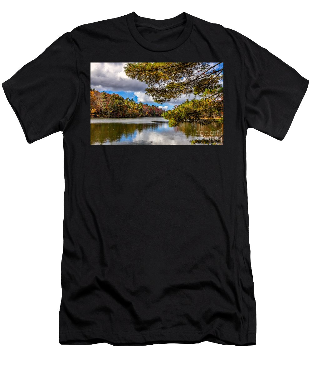 Landscape Men's T-Shirt (Athletic Fit) featuring the photograph Fort Mountain State Park Lake Trail by Bernd Laeschke