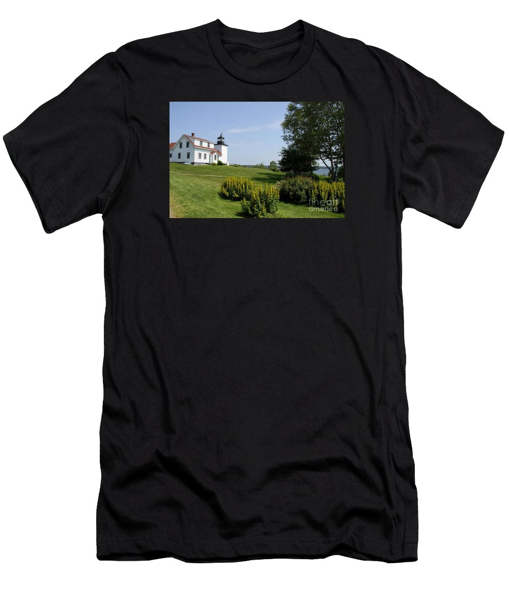 Stockton Springs Men's T-Shirt (Athletic Fit) featuring the photograph Fort Point Light Maine by Christiane Schulze Art And Photography