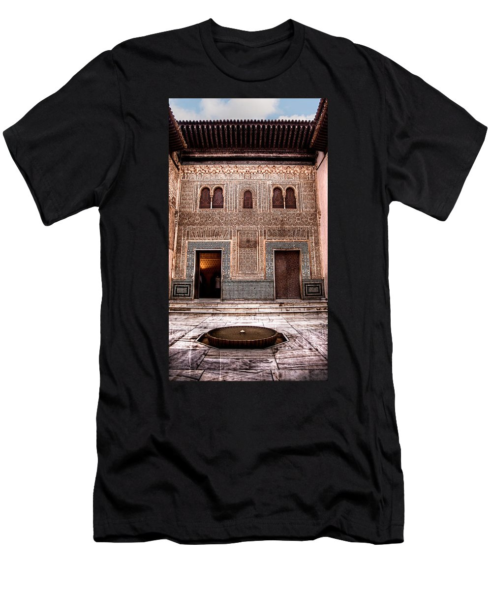 Alhambra Men's T-Shirt (Athletic Fit) featuring the photograph Fountain In A Marble Court by Weston Westmoreland