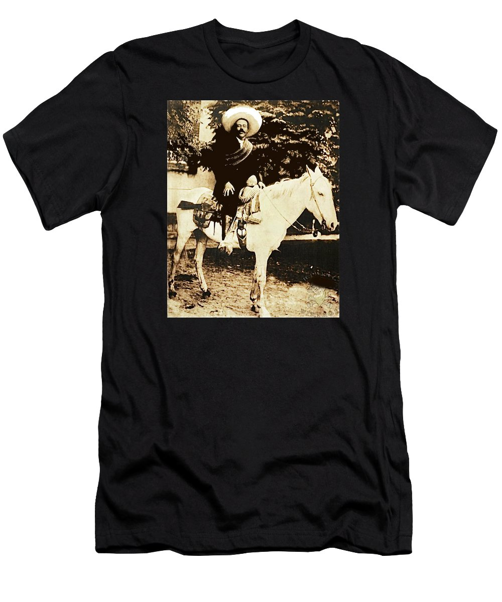 Francisco Villa On Horse Perhaps Siete Leguas Unknown Mexico Location Or Date 2013. Men's T-Shirt (Athletic Fit) featuring the photograph Francisco Villa On Horse Perhaps Siete Leguas Unknown Mexico Location Or Date 2013. by David Lee Guss