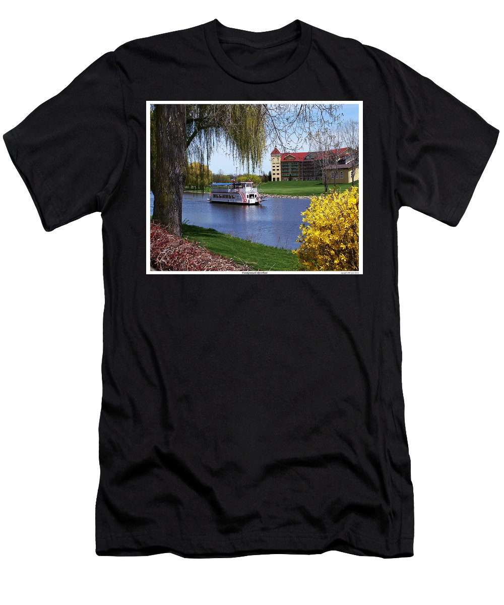 Boat Men's T-Shirt (Athletic Fit) featuring the photograph Frankenmuth Riverboat by Gene Tatroe