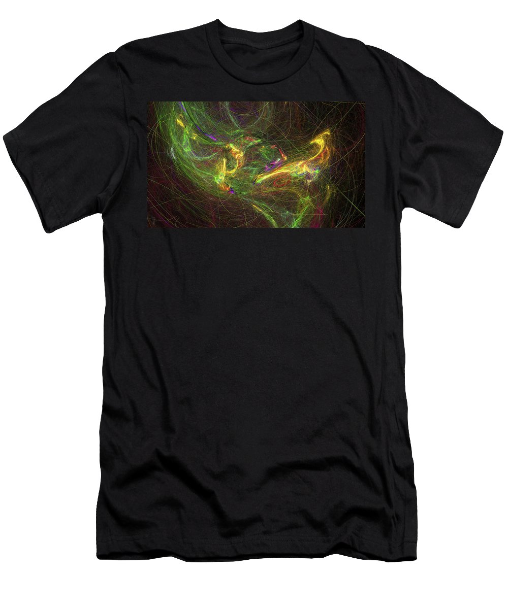 Fractal Art Men's T-Shirt (Athletic Fit) featuring the digital art Frantic by David Ridley