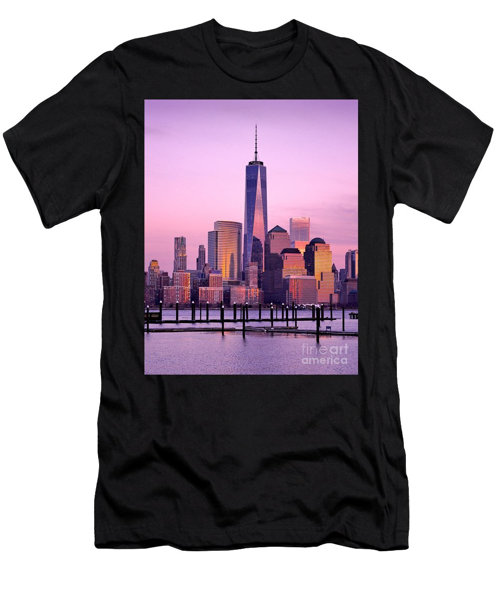 8 Spruce Street Men's T-Shirt (Athletic Fit) featuring the photograph Freedom Tower Nyc by Jerry Fornarotto