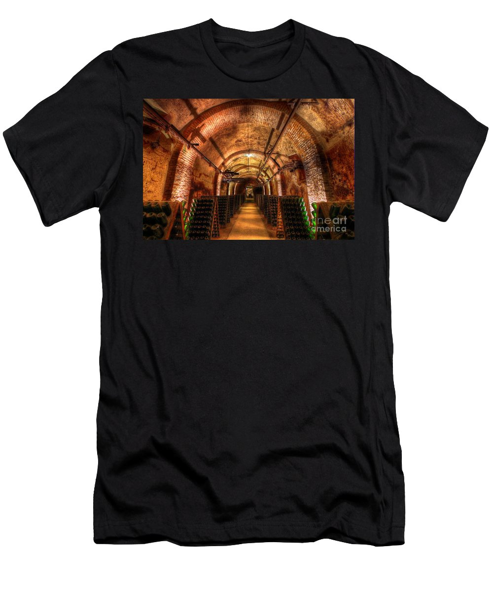 Landscape Men's T-Shirt (Athletic Fit) featuring the photograph French Champagne Cellar by Sevan Mardirossian
