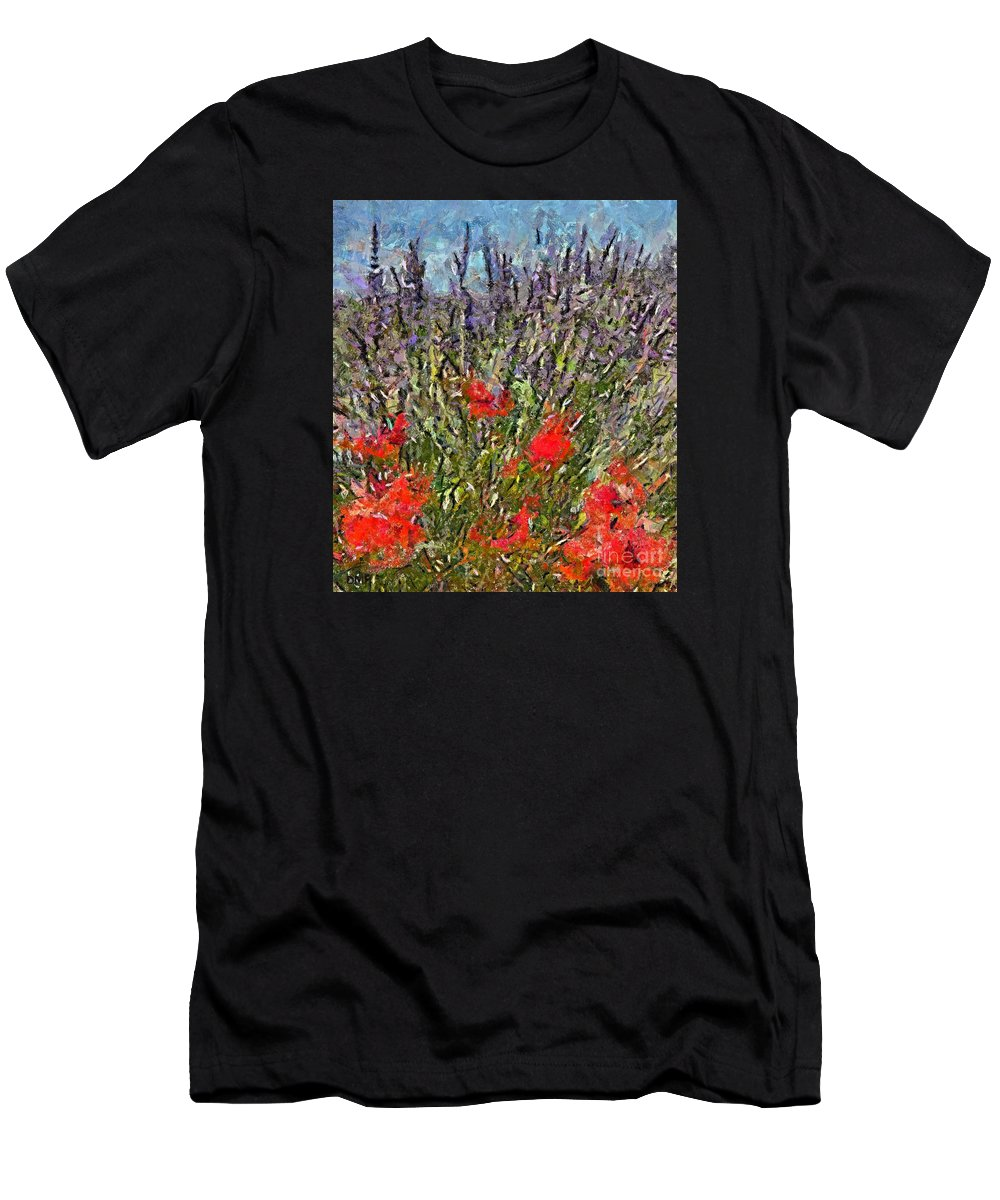 Field Men's T-Shirt (Athletic Fit) featuring the painting French Lavender Field by Dragica Micki Fortuna
