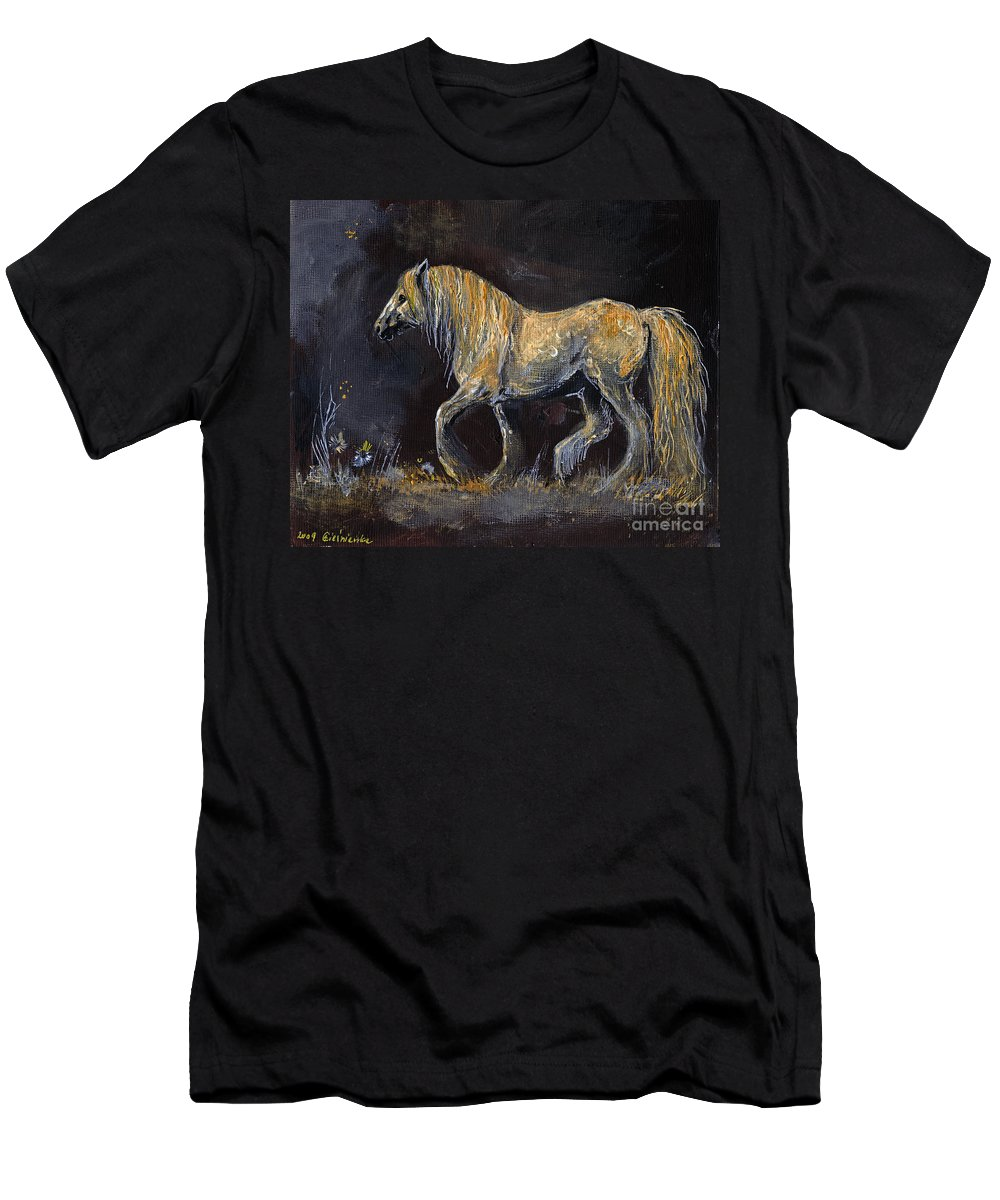 Shire Horse Men's T-Shirt (Athletic Fit) featuring the painting From The Darkness by Angel Ciesniarska