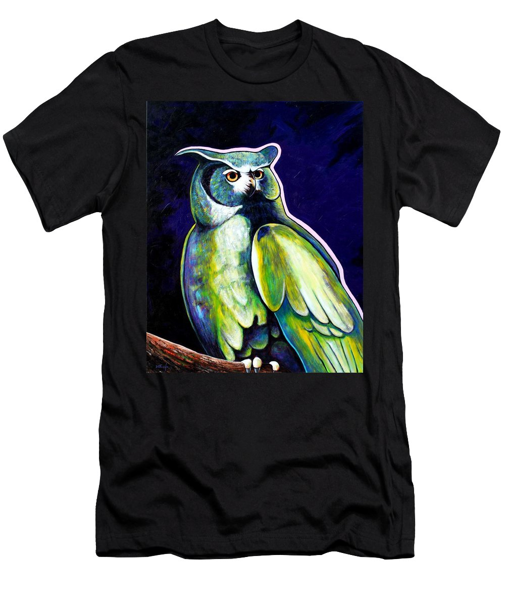 Owl Men's T-Shirt (Athletic Fit) featuring the painting From The Shadows by Joe Triano