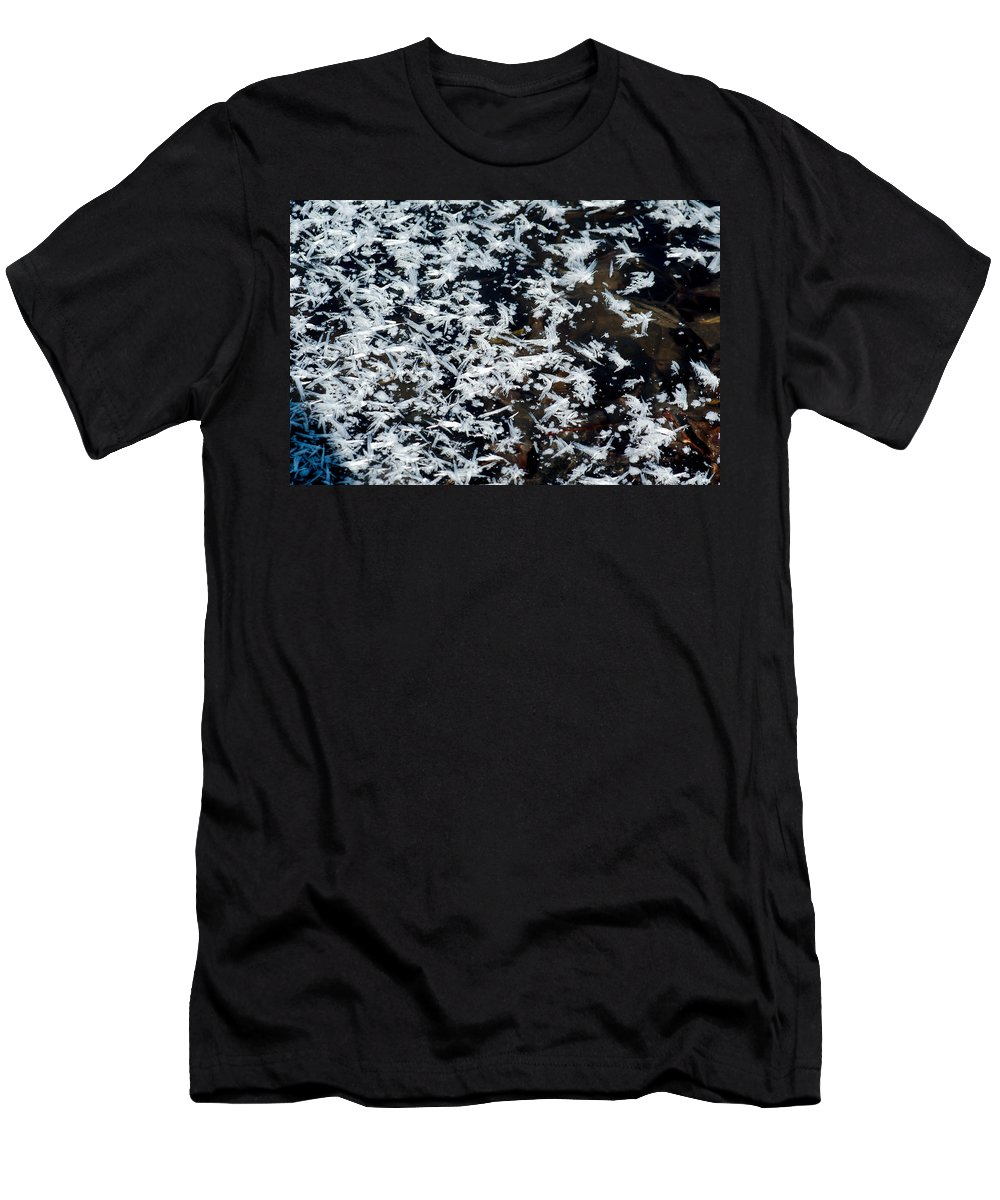 Frost Men's T-Shirt (Athletic Fit) featuring the photograph Frost Flakes On Ice - 11 by Larry Jost