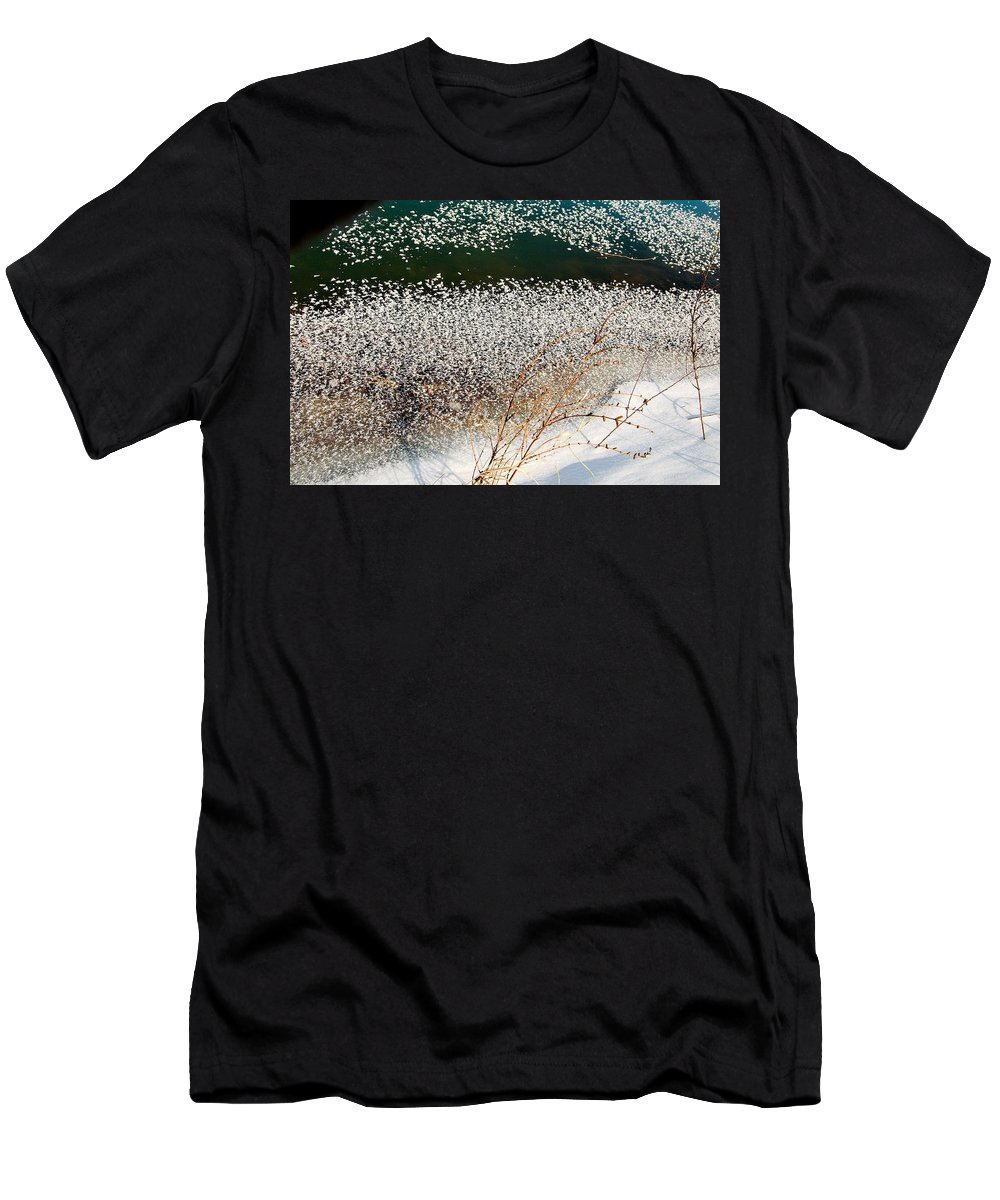 Frost Men's T-Shirt (Athletic Fit) featuring the photograph Frost Flakes On Ice - 13 by Larry Jost