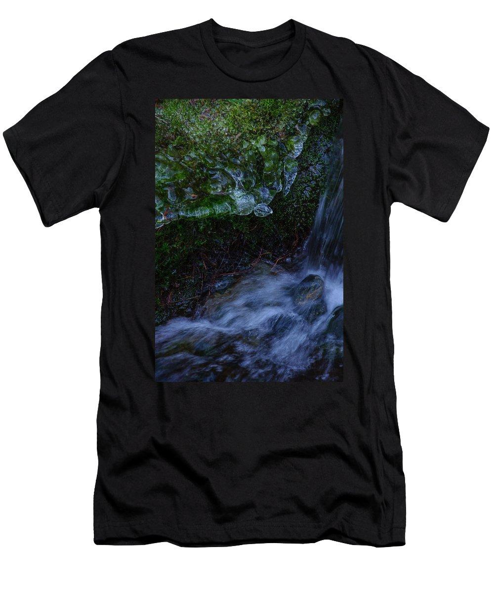 Frozen Garden Men's T-Shirt (Athletic Fit) featuring the photograph Frozen Garden Stream by Roxy Hurtubise