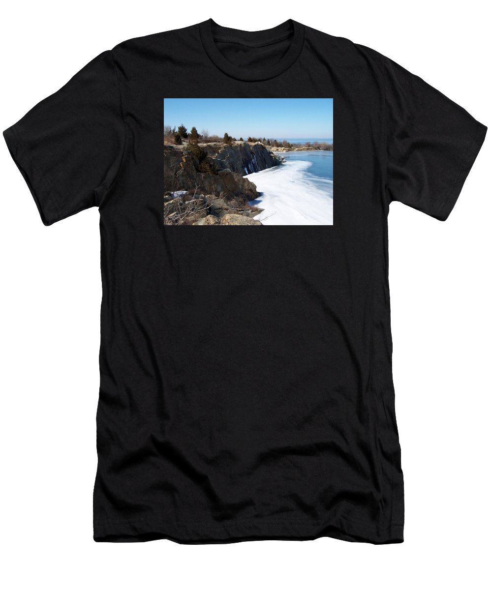 Halibut State Park Men's T-Shirt (Athletic Fit) featuring the photograph Frozen Quarry by Catherine Gagne