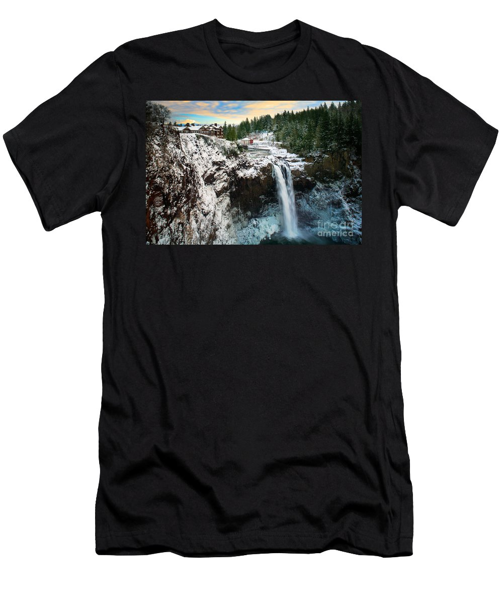 America Men's T-Shirt (Athletic Fit) featuring the photograph Frozen Snoqualmie Falls by Inge Johnsson