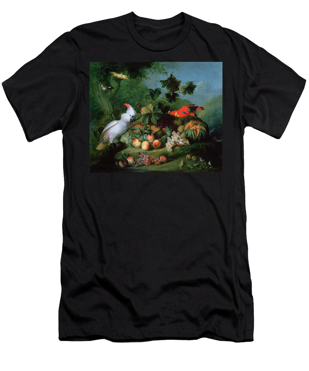 Frame Men's T-Shirt (Athletic Fit) featuring the photograph Fruit And Birds by Jakob Bogdani or Bogdany