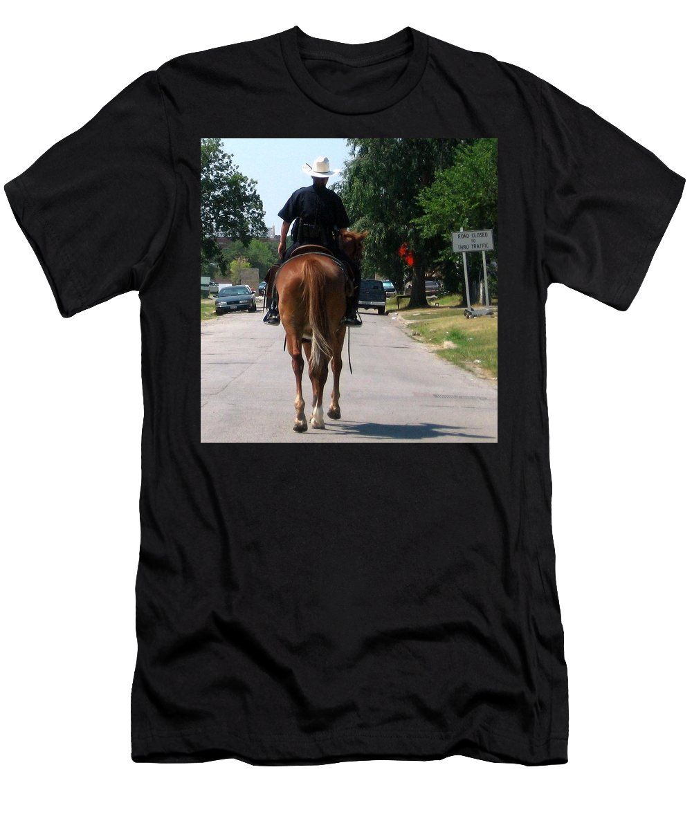 Police Men's T-Shirt (Athletic Fit) featuring the photograph Ft Worth Texas Police by Amy Hosp