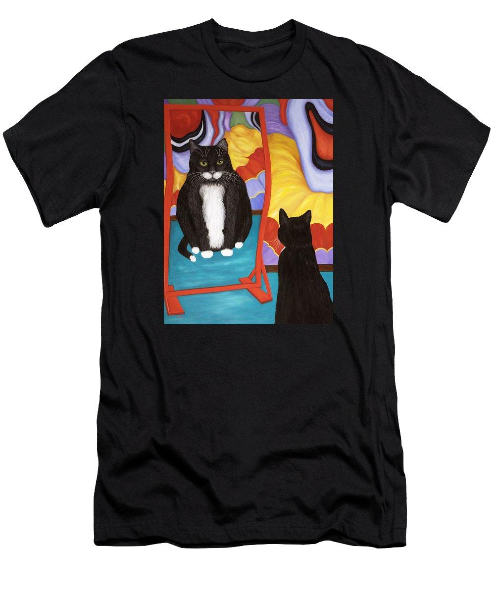 Cat Art T-Shirt featuring the painting Fun House Fat Cat by Karen Zuk Rosenblatt