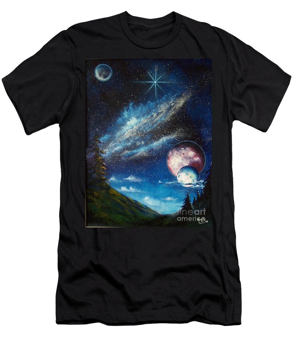 Space Horizon Men's T-Shirt (Athletic Fit) featuring the painting Galatic Horizon by Murphy Elliott
