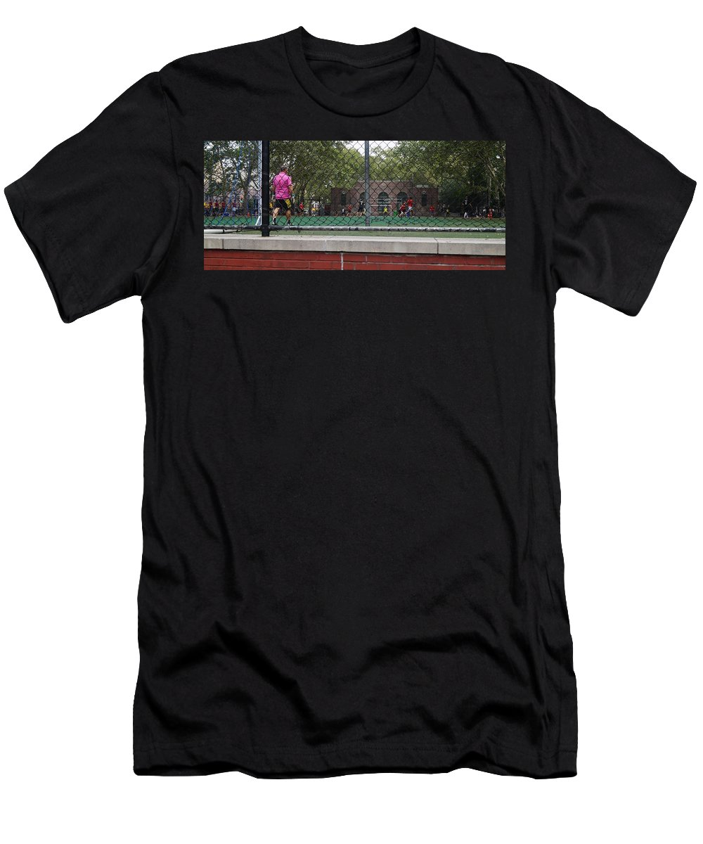 Soccer Men's T-Shirt (Athletic Fit) featuring the photograph Game Behind The Fence by John Wall